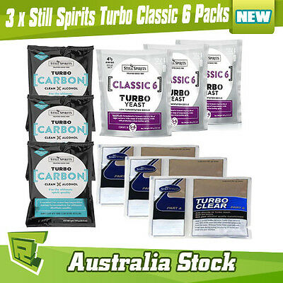 3 x Still Spirits Turbo Classic 6 Yeast Carbon Clear Home Brew Spirit Yeast