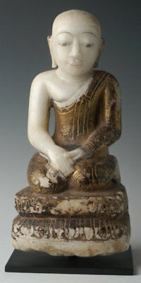 18th Century, Shan, Antique Burmese Alabaster Seated Disciple