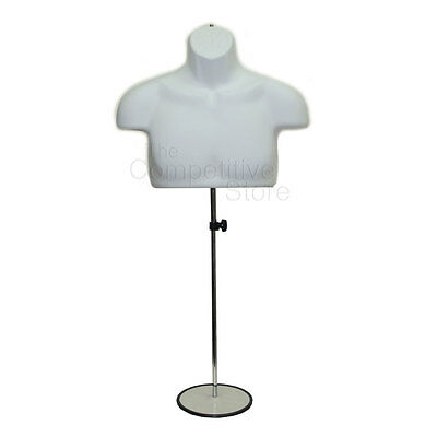 White Male Upper Torso Mannequin Form W/ Metal Base  - Countertop Display