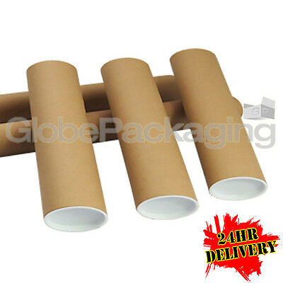 100 x A4 Quality Postal Cardboard Poster Tubes Size 240mm x 50mm + End Caps 24HR