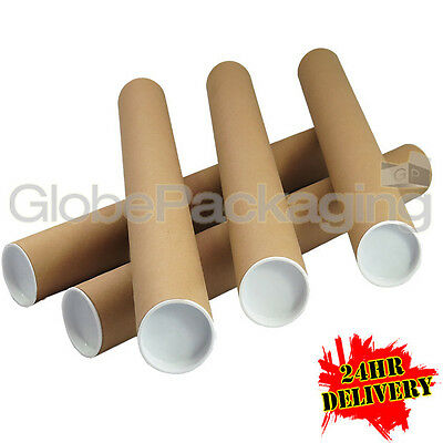 250 x A2 Quality Postal Cardboard Poster Tubes Size 460mm x 50mm + End Caps 24HR