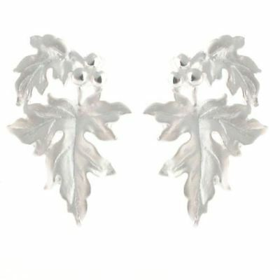 Sterling Silver Leaf and Berries Matt finish Stud Earrings Post Style