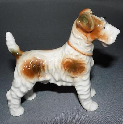 Hand Painted Wire Haired Fox Terrier Vintage Dog Figurine