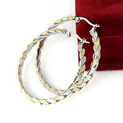 Cute Silver&gold Fashion Womens Stainless Steel Round Hoop Earrings