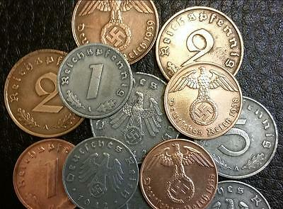 Two Circulated Rare Nazi German Coin from Third Reich Hitler Era.