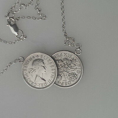 Double Lucky Sixpence Coin Necklace With Sterling Silver Chain
