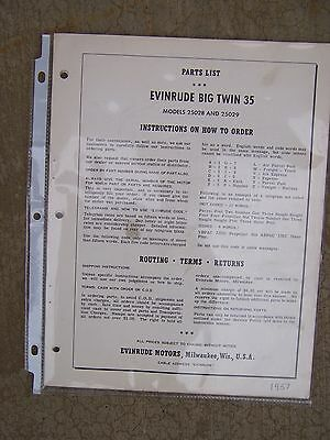 Hp Parts Store >> 1957 Evinrude Big Twin 25 Hp Outboard Parts List 25028 25029 More In Store U