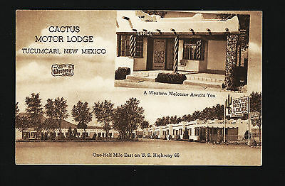 Tucumcari New Mexico NM c1950s Cactus Motor Lodge Motel Motor Court, US Route 66