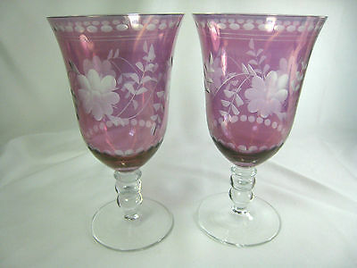 Royal Danube Antique Luster Ruby Cut Etched Floral WATER GOBLETS Set of 2