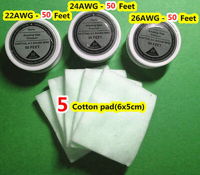 3 spools Mixed 22,24,26 Gauge AWG kanthal a1 resistance wire+ 5 pcs cotton pad