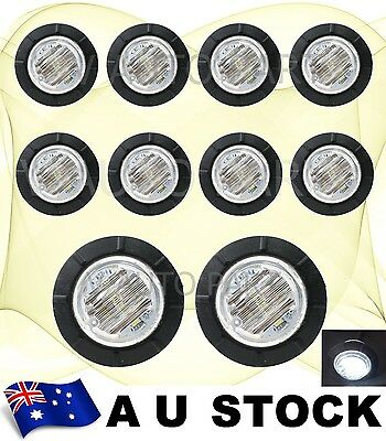 "10X 12V DC White 1.25"" inch Side Bullet Light 6 LED Marker Lamp Trailer AU Stock"