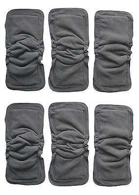 BAMBOO CHRACOAL INSERTS DOUBLERS WITH GUSSETS FOR BABY CLOTH DIAPERS 2 TO 6 Pack