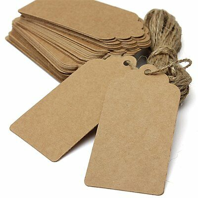 100 Brown Kraft Paper Gift Tags Present Scallop Label Blank Tag Xmas Christmas