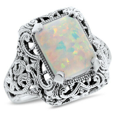 White Lab Opal .925 Sterling Antique Filigree Style Silver Ring,    #758