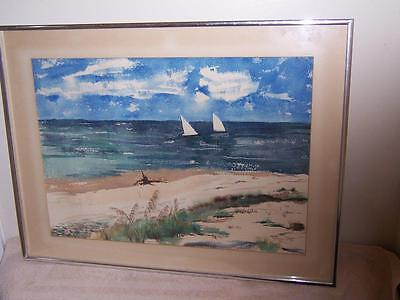 Sgn Mary Stoltz Sailboats Seascape Beachfront Sand Dunes Watercolor Painting