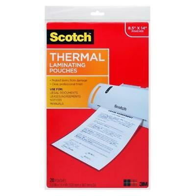Scotch Thermal Laminating Pouches, 8.9 x 14.4-Inches, Legal Size, 20-Pack New