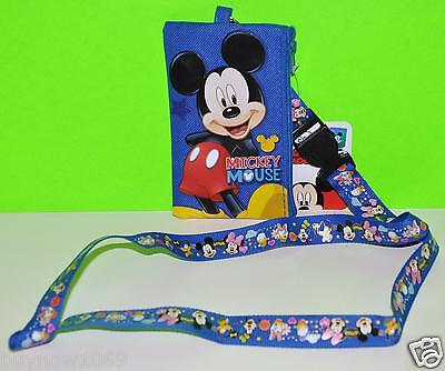 MICKEY MOUSE BLUE LANYARD FASTPASS TICKET PIN HOLDER Wallet BADGEHOLDER coin bag