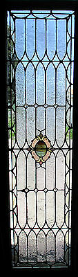 ~ ANTIQUE AMERICAN STAINED GLASS WINDOW 24 x 83.5 ~ 3 of 3 ARCHITECTURAL SALVAGE