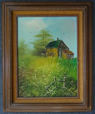 Art OIL Painting THOMPSON Signed Original On Canvas Framed Farm house Landscape