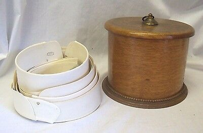 Old Antique Unusual Spool Shaped Wooden Collar Box w/ 10 Collars Belmont Arrow