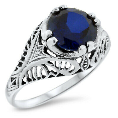 2.5 Ct Blue Lab Sapphire .925 Sterling Vintage Antique Style Silver Ring, #774