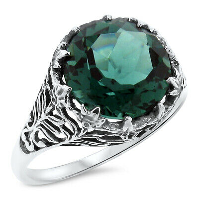 Green Sim Emerald .925 Sterling Filigree Antique Vintage Style Silver Ring, #779