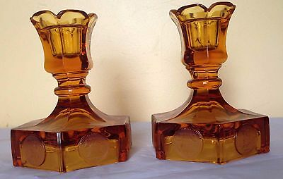 Fostoria Coin Amber Glass Vintage Pair of Candlesticks Candle Stick Candlestick