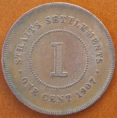 1907 Straits Settlements 1 Cent KM# 19 Edward VII Coin