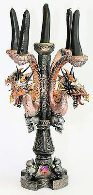30cm Dragon Candle Holder Candelabra Dragons Candles Balck Skulls Gothic Mystic