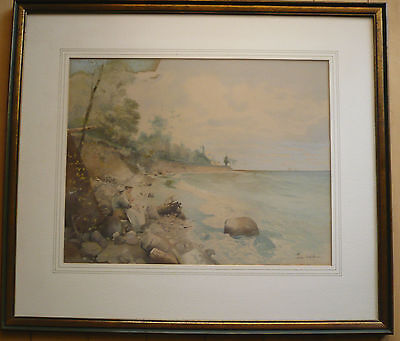 PETER WOLTZE, LISTED, OLD ANTIQUE WATERCOLOR 19th CENTURY ROMANTIC MODERNISM