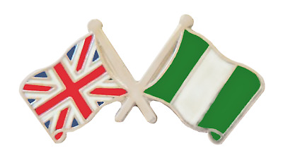 Nigeria Flag & United Kingdom Flag Friendship Courtesy Pin Badge - T778X