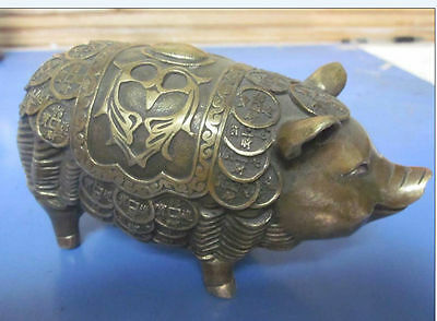 Collectable Chinese Handwork Old Copper Pig Statue