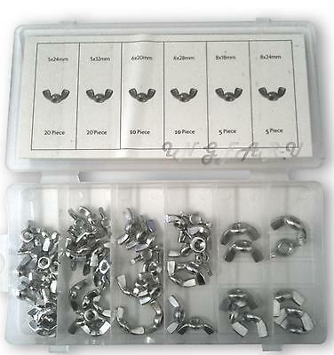 140pc Rust Resistant Wing Nut Butterfly Wingnut Set Zinc Steel 18 20 24 28 32mm
