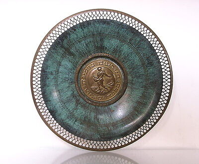 Pal Bell / early Israeli brass plate / green patina / UJA Faderation 1956