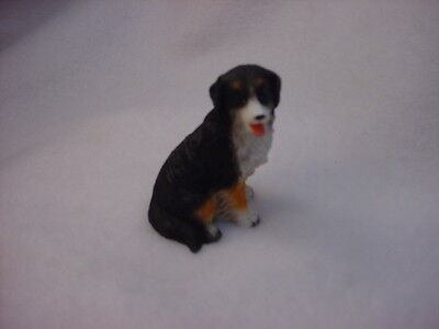 BERNESE MOUNTAIN DOG puppy TiNY FIGURINE Hand Painted MINIATURE Resin Statue NEW