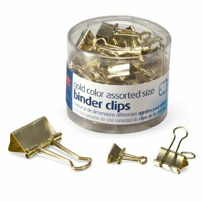 Officemate Binder Clips, Gold, Assorted Sizes, 30 Clips in Tub (31022) New