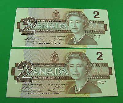1986 $2  Bank of Canada BC-55b BGT Thiessen Crow small B UNC consecutive