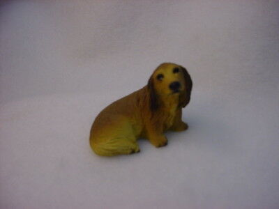 LONG HAIRED DACHSHUND red brown TiNY DOG Figurine HAND PAINTED MINIATURE MINI SM