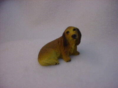 LONG HAIRED DACHSHUND red brown puppy TiNY DOG Figurine HANDPAINTED MINIATURE