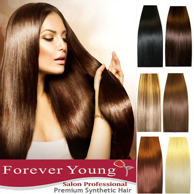 """Hair Extensions Real Thick Half Full Head Clip In Long 18-28"""" Feels Human Weft"""