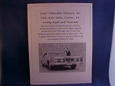 1967 Chevrolet Camaro factory cost//dealer sticker prices for car /& options $ 67