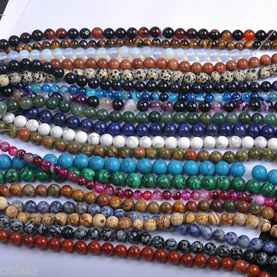 Natural Gemstone Round Spacer Loose Beads 4mm 6mm 8mm 10mm 12mm 20Styles Stones
