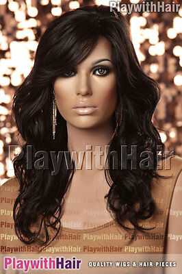SO HOT! New Flowing Wavy Wig Skin Part Soft Black