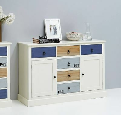 sideboard kommode schrank wei bunt blau landhausstil neu. Black Bedroom Furniture Sets. Home Design Ideas