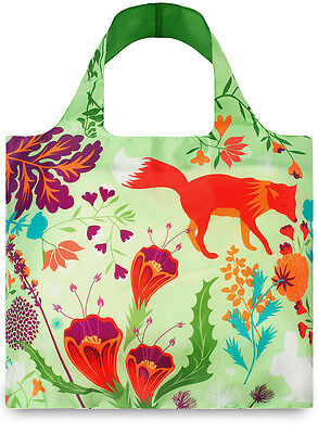 New LOQI Grocery Shopping Reusable TOTE BAG Washable RED FOX FLOWER GREEN FLORAL