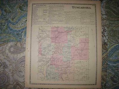 Mint Antique 1873 Tuscarora South Addison & Hill Steuben County New York Map Nr