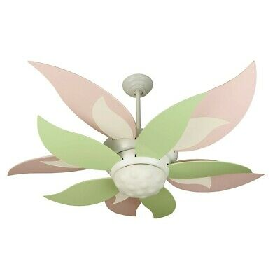 """Craftmade Ceiling Fan, White Bloom w/ 52"""" Green and Pink Blades - K10367"""