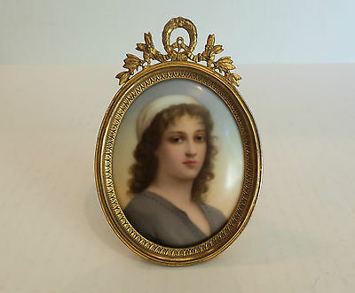 """19th C. MINIATURE PORTRAIT PAINTING of """"RUTH"""" on PORCELAIN in OVAL GILT FRAME"""