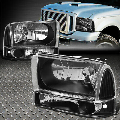 For 1999-2004 Ford Super Duty Pair Black Housing Clear Side Headlight/lamp Set