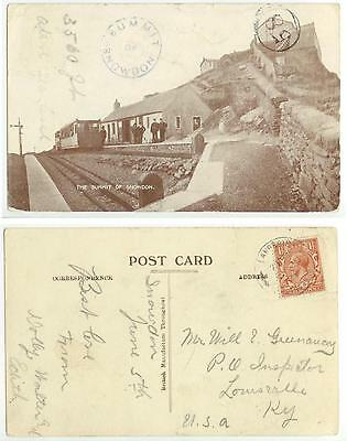 1922 Summit of Snowden postcard to Kentucky - cover